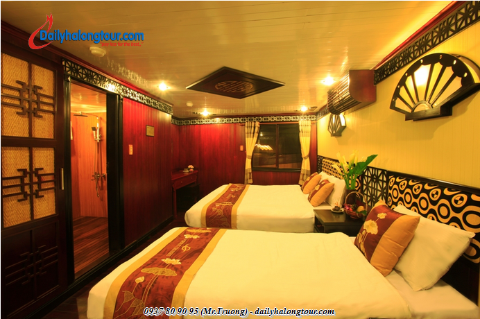 The yacht is equipped with luxurious modern furnishings for relaxing extremely interesting moments  in Ha Long Bay tours
