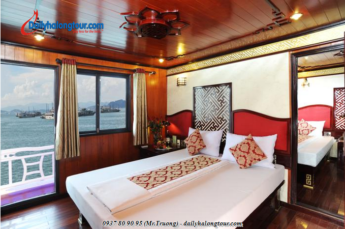 Halong Royal Heritage Cruise has 16 comfortable rooms furnished brings soothing comfort for tourists in Ha Long Bay tours